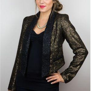 NWT Aryn K glitzy sweater blazer black and gold